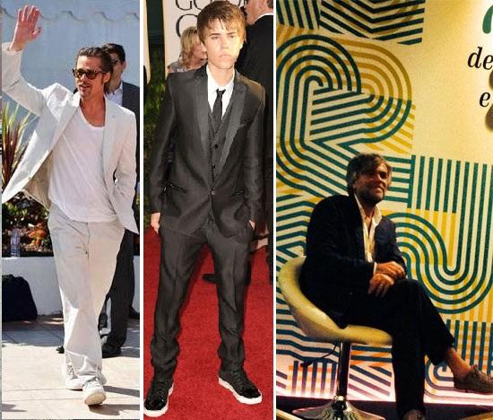 o ator Brad Pitt / o cantor justin bieber  / sociólogo Francesco Morace