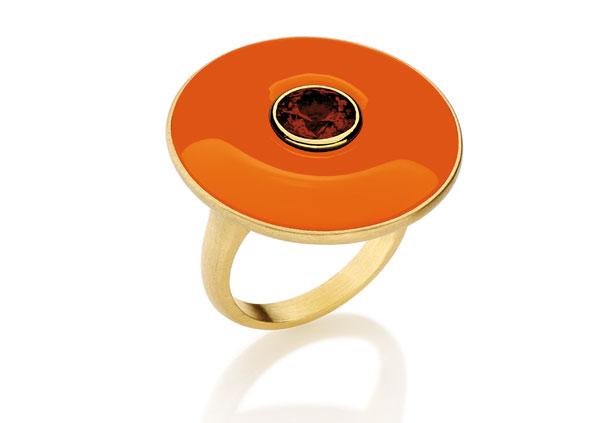 anel sunset, quartzo, granada e ouro