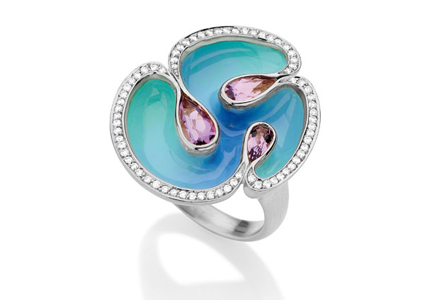 anel wonder azul especial, ametistas, diamantes e ouro branco