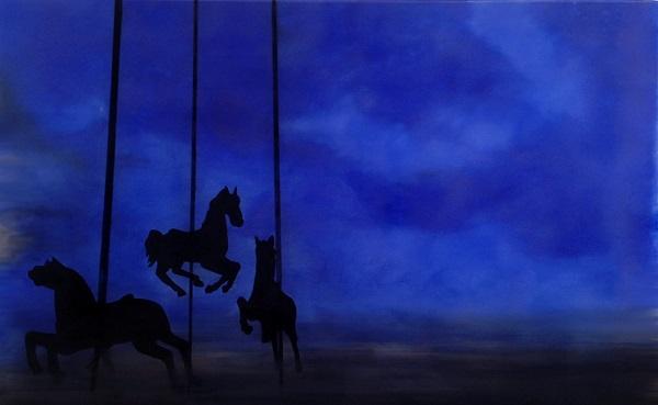 cavalos em azul total