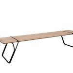 banco ratoeira, madeira jequitibá e metal aço carbono