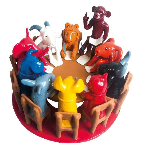 escola dos animais, em cerâmica, antonio rodrigues, do alto do moura, pernambuco