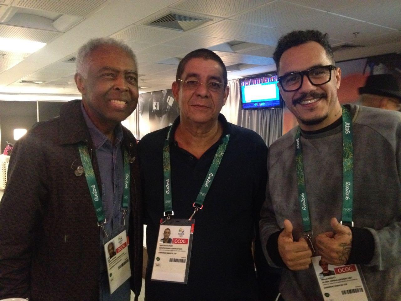 Gilberto Gil, Zeca Pagodinho e Marcelo D2 ensaiam para abertura da Olimpíada
