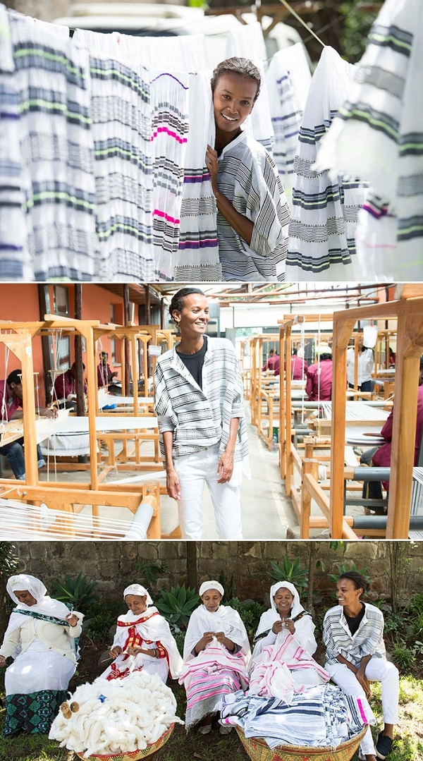 Liya Kebede com seus artesãos na Etiópia
