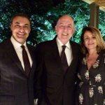 O anfitrião Júlio Sobreira com Acilio Borges e Anamelia Moraes