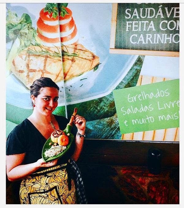 Patrícia Villela e o prato do festival - Criação com inspiração nordestina e produtos brasileiros