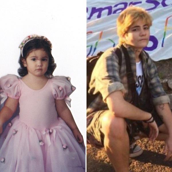 Tom em dois momentos: no aniversário de 2 anos, vestindo o famigerado vestido de rosas (ainda como Maria Rosa); e em 2017 na passeata pelos direitos LGBT em Valença-RJ