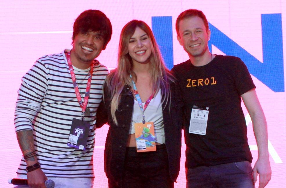 Tiago Leifert  foi mediador de  painel com  Gusta Stockler e Alessandra Prado, na Game XP 2018