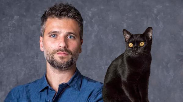 Bruno Gagliasso e o gato Leon já chegaram brilhando no Sétimo Guardião