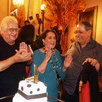 Carlos Alberto Serpa com os aniversariantes do início de abril , Belita Tamoyo e Roberto Halbuiti