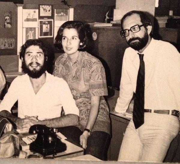 Na antiga redação de O Globo, Marcelo Beraba e Margarida Autran com o chefe Fuad Atala