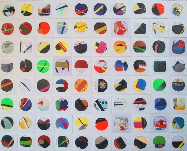série round and round, colagem e pintura