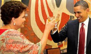 Dilma tilintando taça com Obama (foto O Globo)
