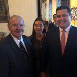 Ex-presidente José Sarney e o casal David Alcolumbre, ele presidente do Senado