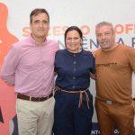 Heber Moura- diretor de comunicação e marketing do Senac , Ana Claudia Martins- diretora regional do Senac e Claudio Silveira - Consultor de moda Senac
