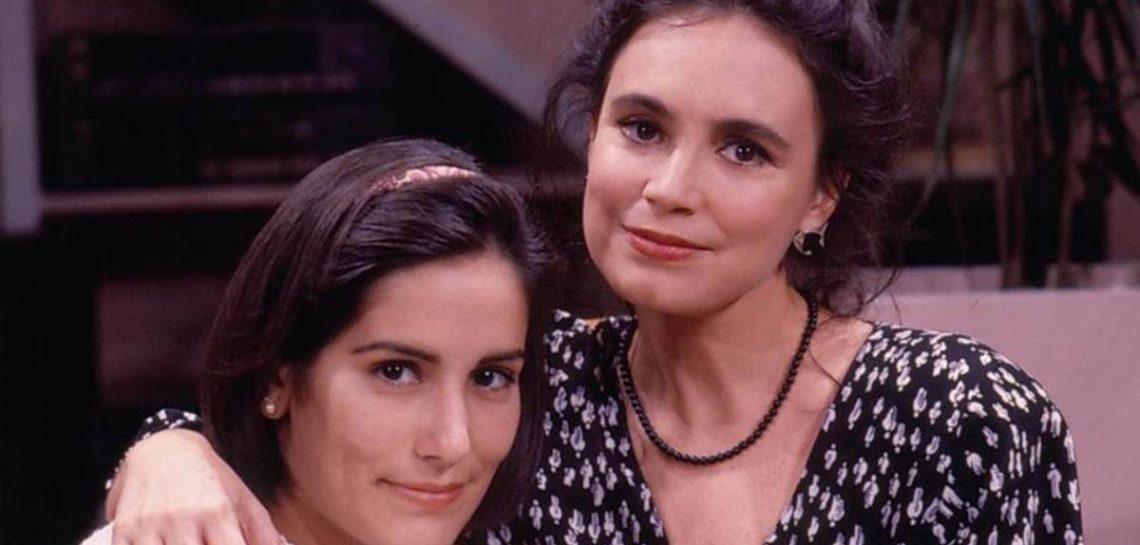 Regina Duarte com Glória Pires na época de Vale Tudo, quando vivia a sofrida Raquel, mãe de uma filha amoral