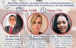 Advogados fazem live sobre o desafio dos jovens profissionais após a pandemia