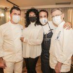 Bianca Teixeira com chef boulanger Philippe Lanie, Eli Schram e Head chef Philippe Brye